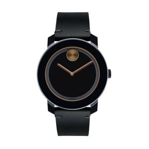 NIB Movado Men's Stainless Steel Watch with black